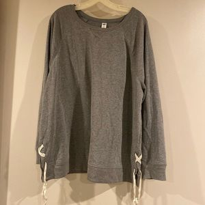 Old Navy grey sweatshirt with ties on the side XXL